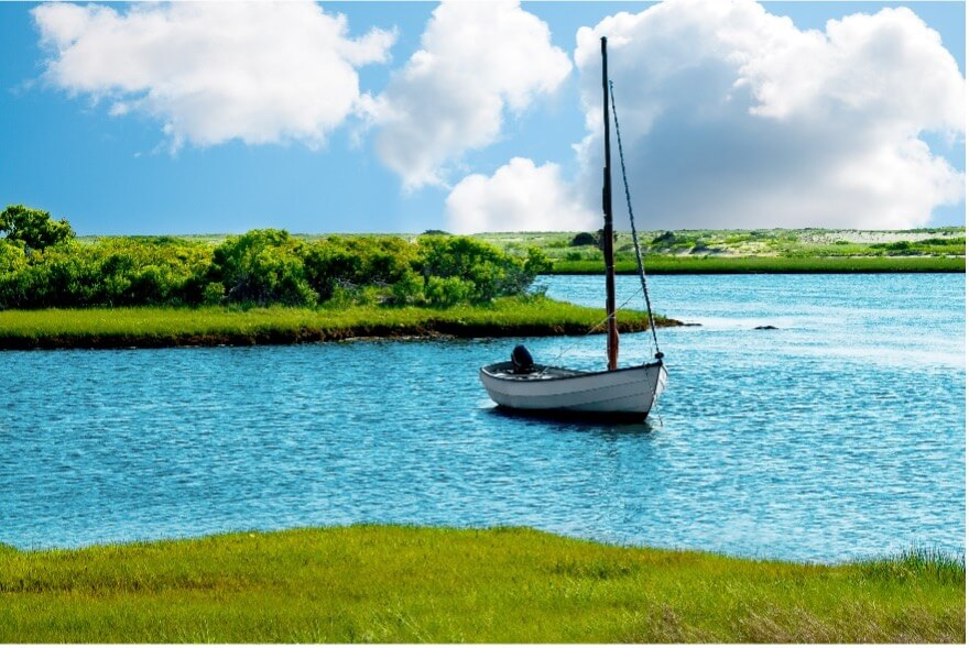 things to do in Chappaquiddick Massachusetts_boat on water_Cape Cod day trip
