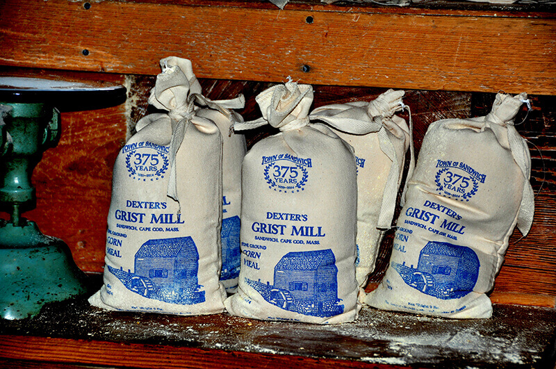 bags of cornmeal at dexter's grist mill in sandwich massachusetts