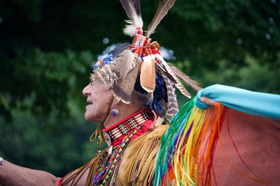 Historic Day Trip on the Old King's Highway_man in traditional native american clothing