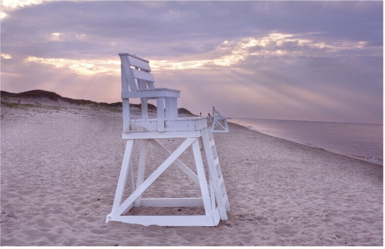 lifeguard chair on beach in cape cod_swim in cape cod_beaches of cape cod